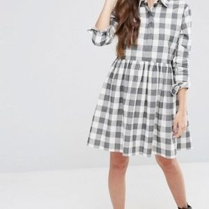ASOS Gray Gingham Trapeze Shirt Dress - Small